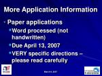 more application information