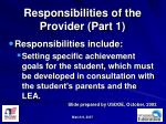 responsibilities of the provider part 1