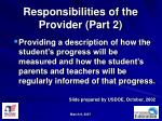 responsibilities of the provider part 2