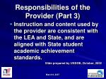 responsibilities of the provider part 3