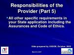 responsibilities of the provider part 5