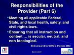 responsibilities of the provider part 6