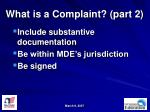 what is a complaint part 2