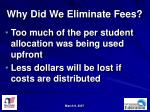 why did we eliminate fees