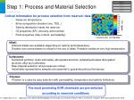 step 1 process and material selection