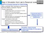 step 4 simulation from lab to reservoir scale
