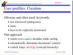 user profiles creation