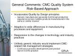 general comments cmc quality system risk based approach12