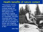 health benefits of nature contact