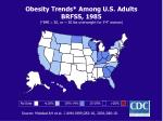 obesity trends among u s adults brfss 1985 bmi 30 or 30 lbs overweight for 5 4 woman