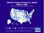 obesity trends among u s adults brfss 1986 bmi 30 or 30 lbs overweight for 5 4 woman