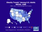 obesity trends among u s adults brfss 1988 bmi 30 or 30 lbs overweight for 5 4 woman