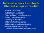 parks nature contact and health what partnerships are possible