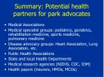 summary potential health partners for park advocates