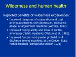 wilderness and human health