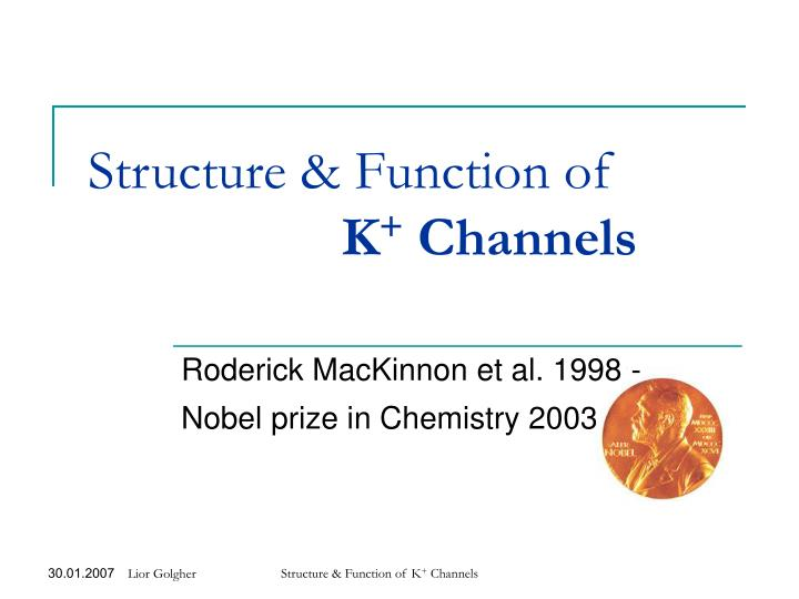 structure function of k channels n.