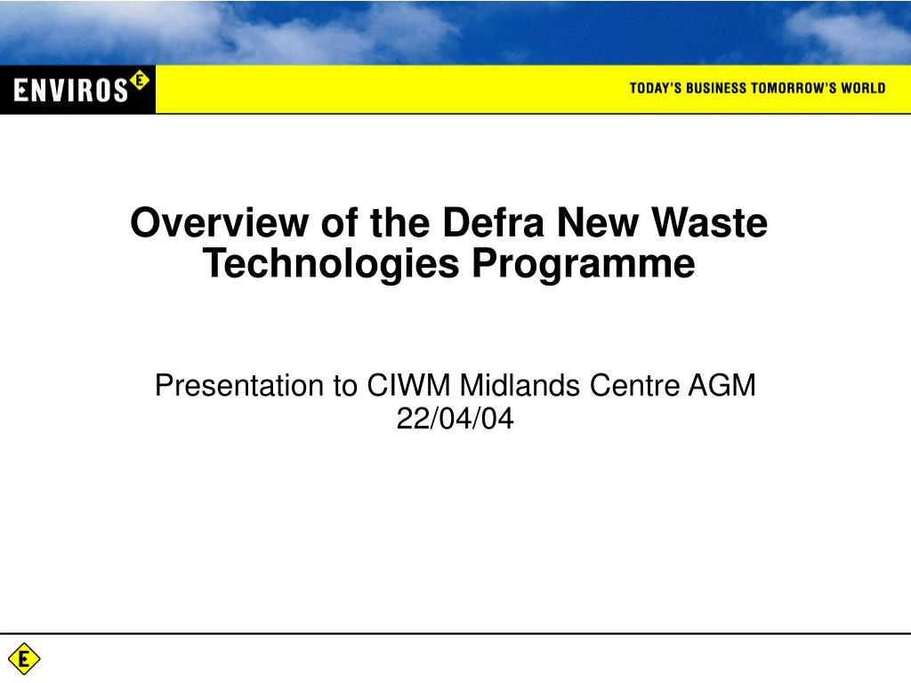 overview of the defra new waste technologies programme l.