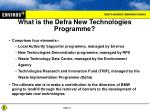 what is the defra new technologies programme