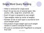 single word query ranking