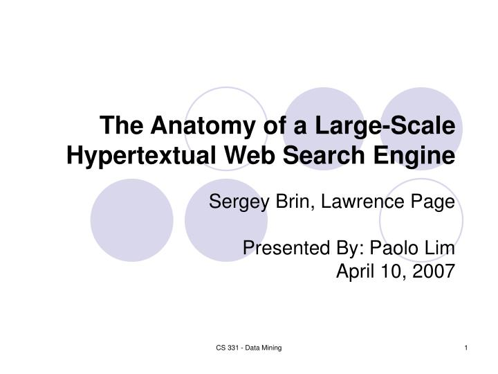 the anatomy of a large scale hypertextual web search engine n.