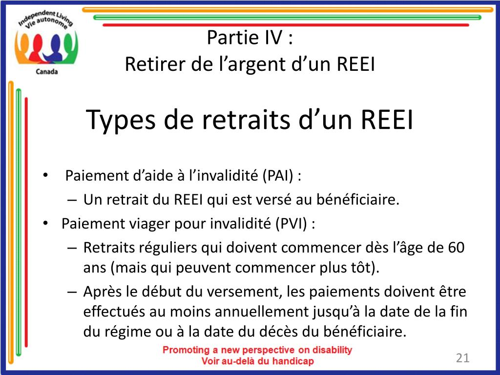 Types de retraits d'un REEI