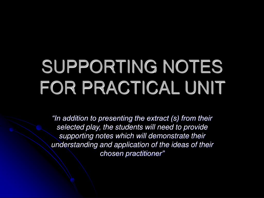 supporting notes for practical unit l.