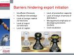 barriers hindering export initiation