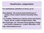 classification categorization