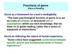 functions of genre ways of reading