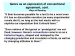 genre as an expression of conventional agreement cont ways of reading