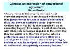 genre as an expression of conventional agreement ways of reading