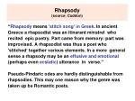 rhapsody source cuddon