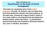 ways of reading cont classi cation on the basis of formal arrangement