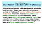 ways of reading cont classi cation on the basis of mode of address
