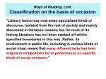 ways of reading cont classi cation on the basis of occasion