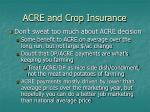 acre and crop insurance