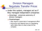division managers negotiate transfer prices