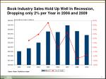 book industry sales hold up well in recession dropping only 2 per year in 2008 and 2009
