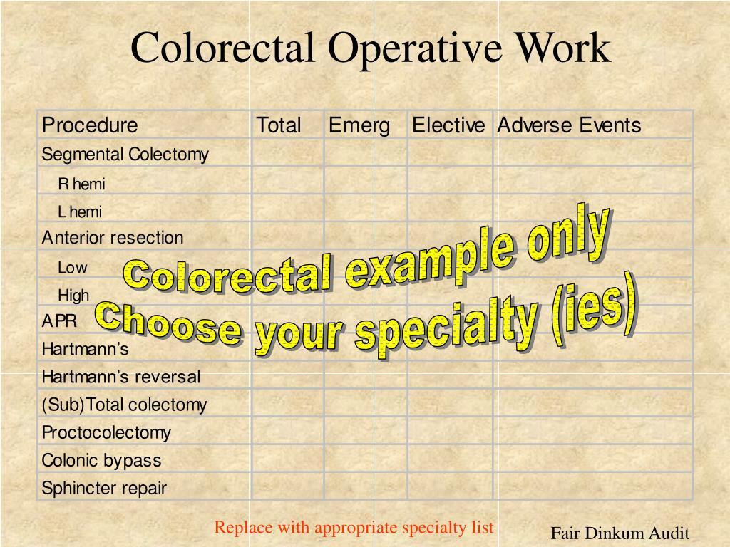 Colorectal Operative Work