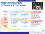 pixel guidelines for on screen and print images