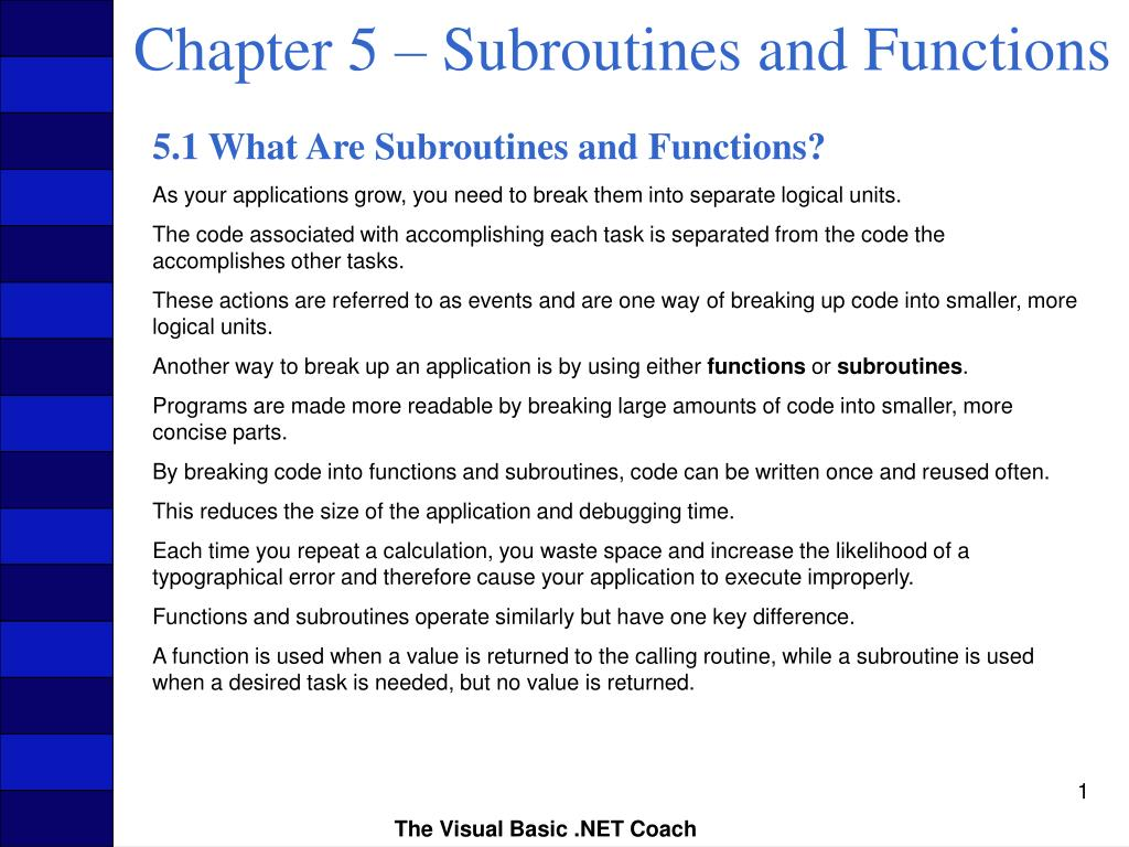 chapter 5 subroutines and functions l.