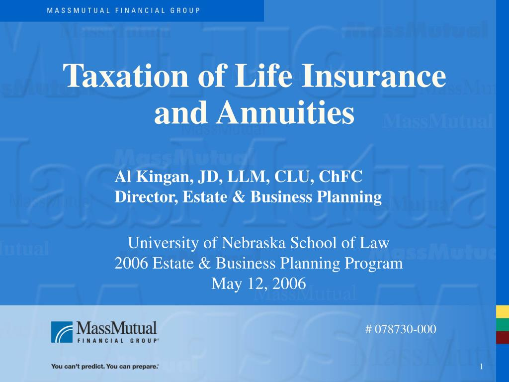 taxation of life insurance and annuities l.