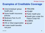 examples of creditable coverage