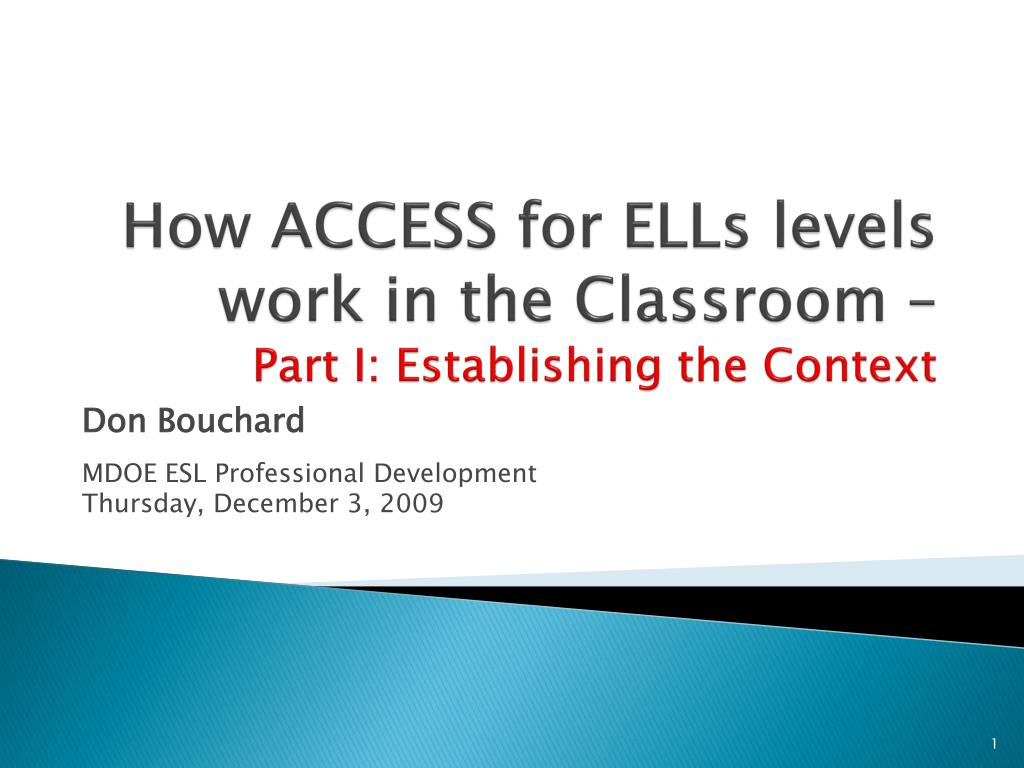 how access for ells levels work in the classroom part i establishing the context l.
