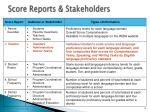 score reports stakeholders