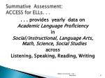 summative assessment access for ells