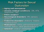 risk factors for sexual dysfunction