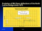 evolution of mid span deflections of the north lutrive bridge since 1973