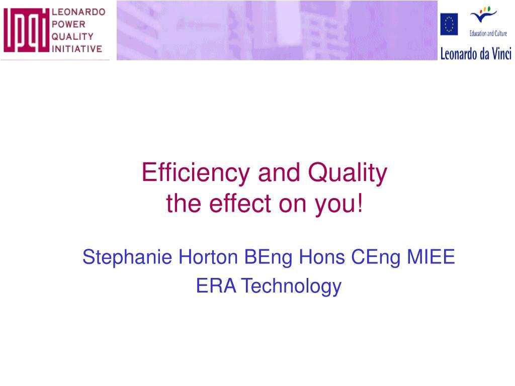 leonardo power quality initiative efficiency and quality the effect on you l.