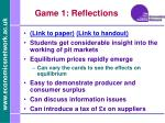 game 1 reflections